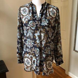 Ann Taylor LOFT navy floral sheer tunic shirt S